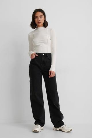 Black Ekologiska Jeans Med Hög Midja