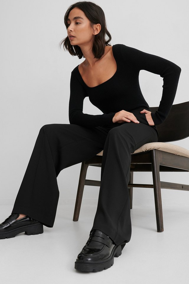 High Waist Suit Pants Black