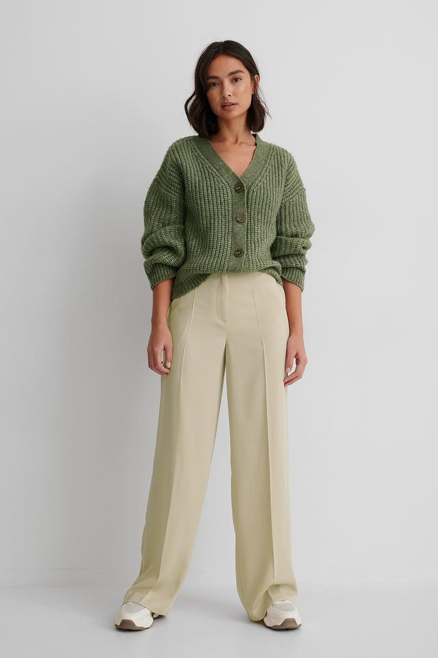 High Waist Suit Pants Dusty Light Green