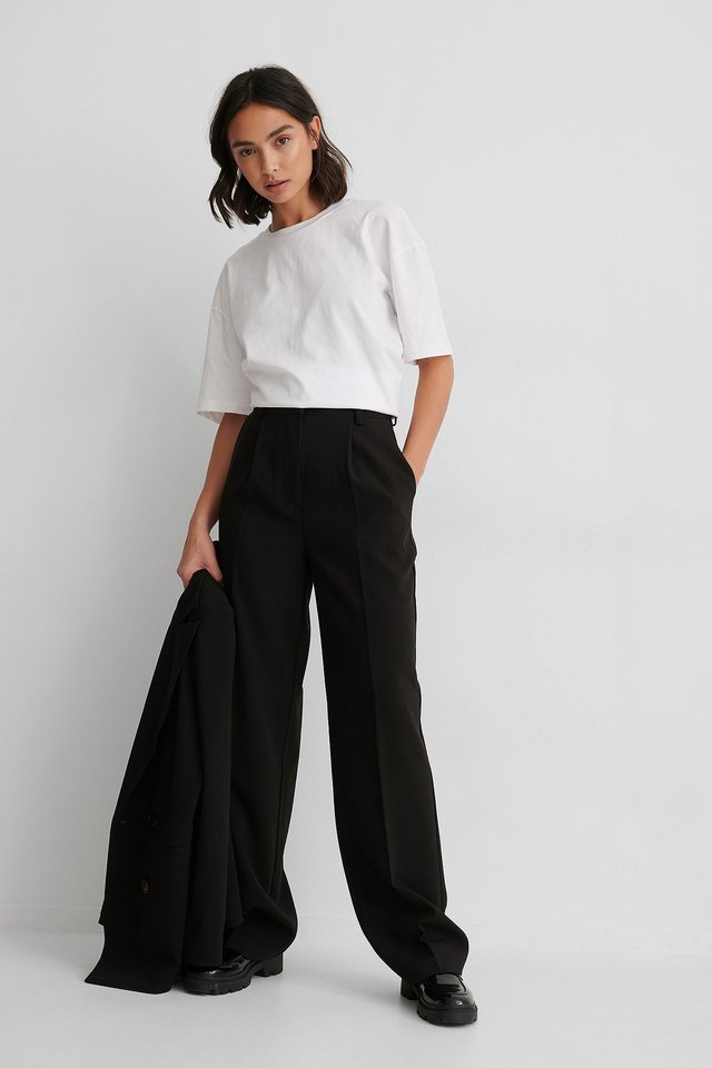 Black Loose Fit Suit Pants