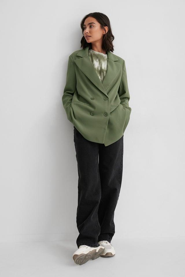 Oversized Double Button Blazer Dark Green