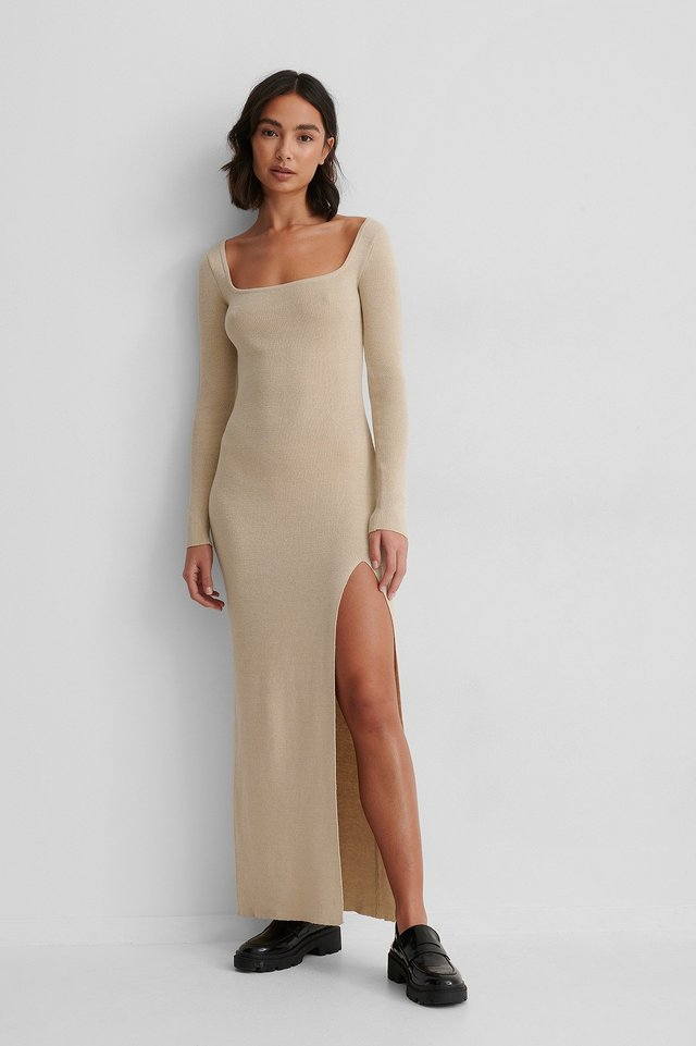 Beige Scooped Slit Dress
