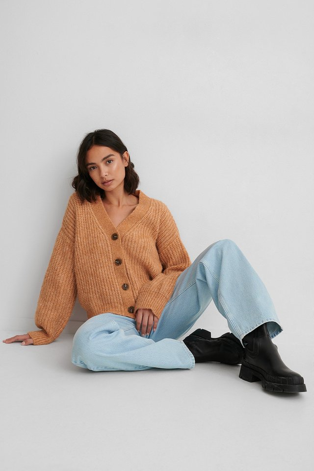 Rust Short Knitted Cardigan