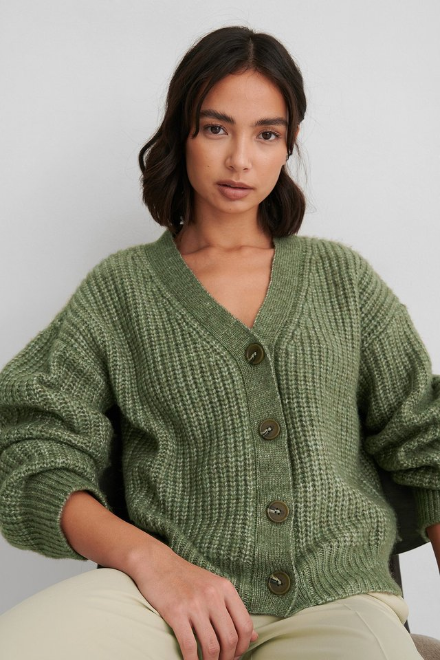 Military Green Short Knitted Cardigan
