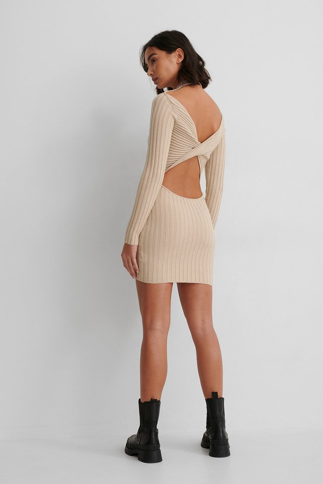 Beige Twisted Back Mini Dress
