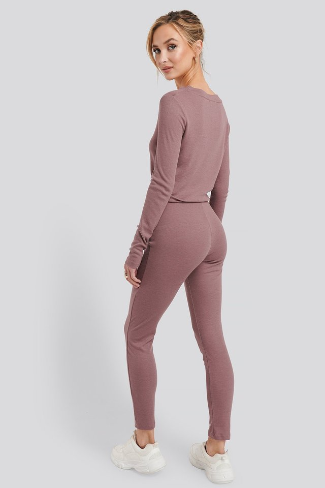 Rose Taupe Soft Ribbed Highwaist Tights