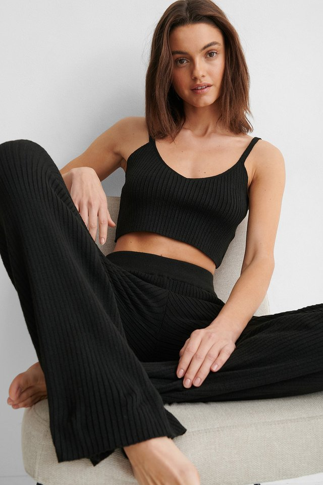 Black Soft Ribbed Pants