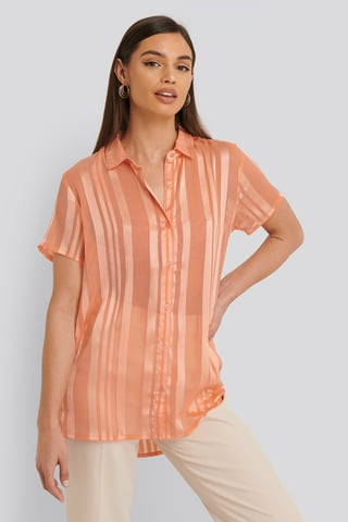 Peach whip pink Shirt Met Korte Mouwen