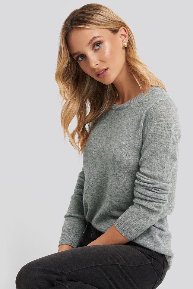 Pure Cashmere O-Neck Pullover Grey Melange