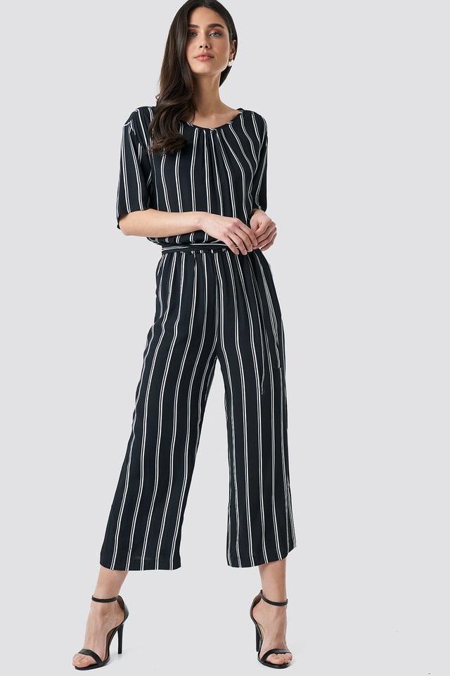 Tula Stripe Jumpsuit Black