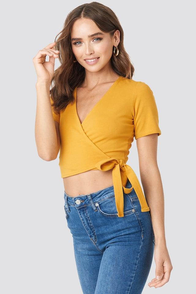 Denise Bobe Overlap Short Sleeve Top Yellow