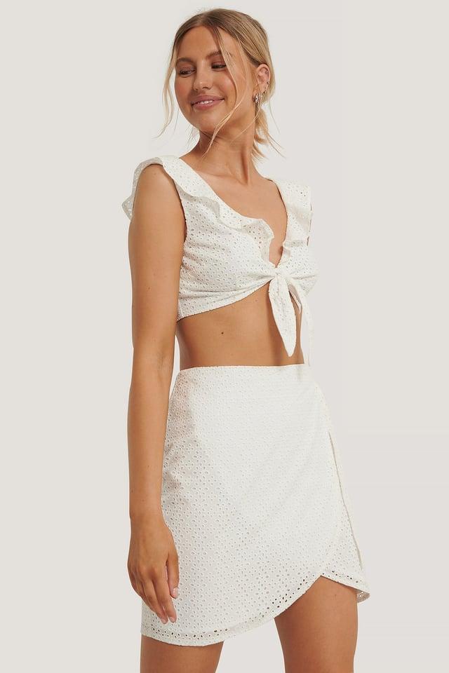 Minifalda Cruzada Cerrada White