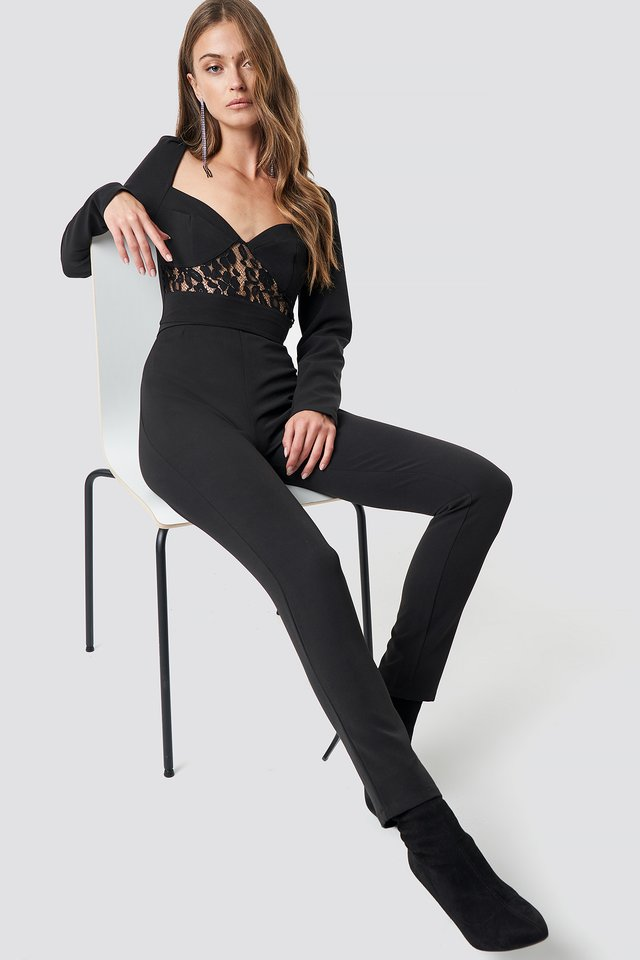 Lace Insert LS Jumpsuit Black