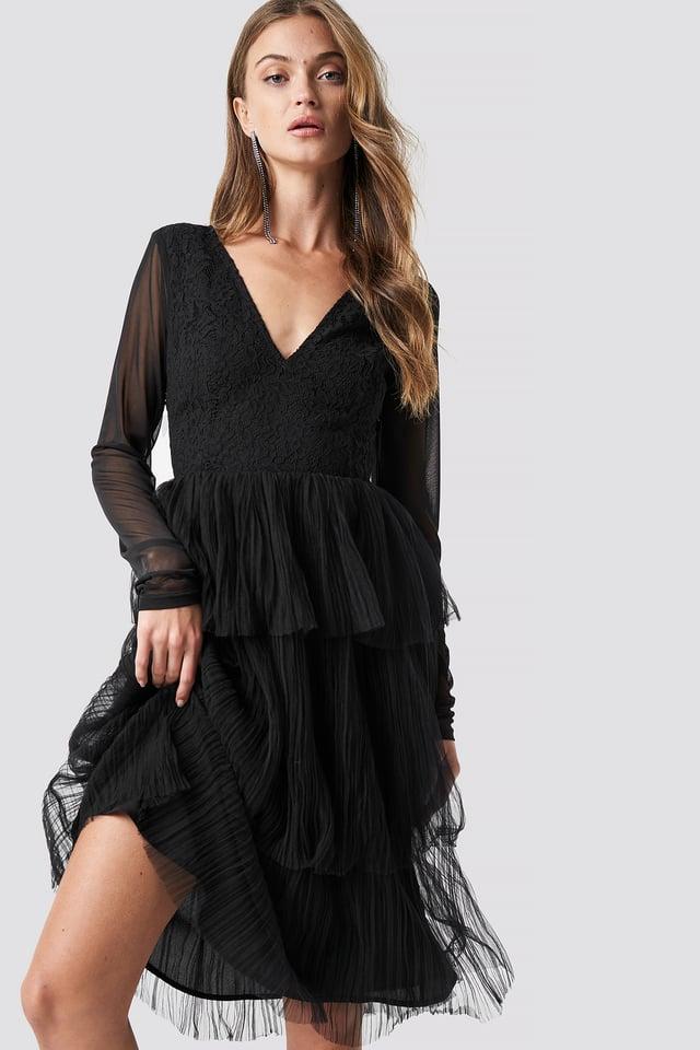 Mesh Sleeve Layered Midi Dress Black