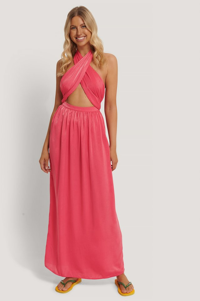 Crossed Front Maxi Dress Raspberry
