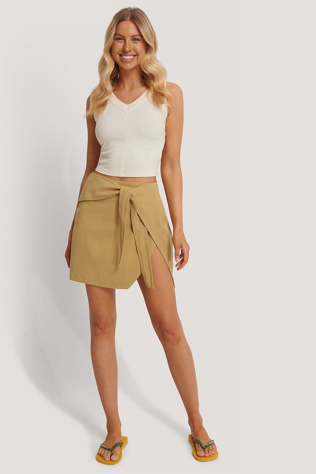 Warm Sand Knot Detail Mini Skirt