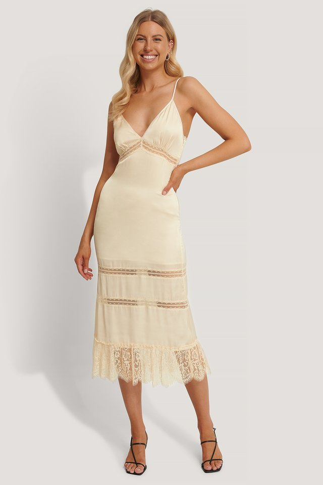 Eggshell Lace Blocking Midi Dress