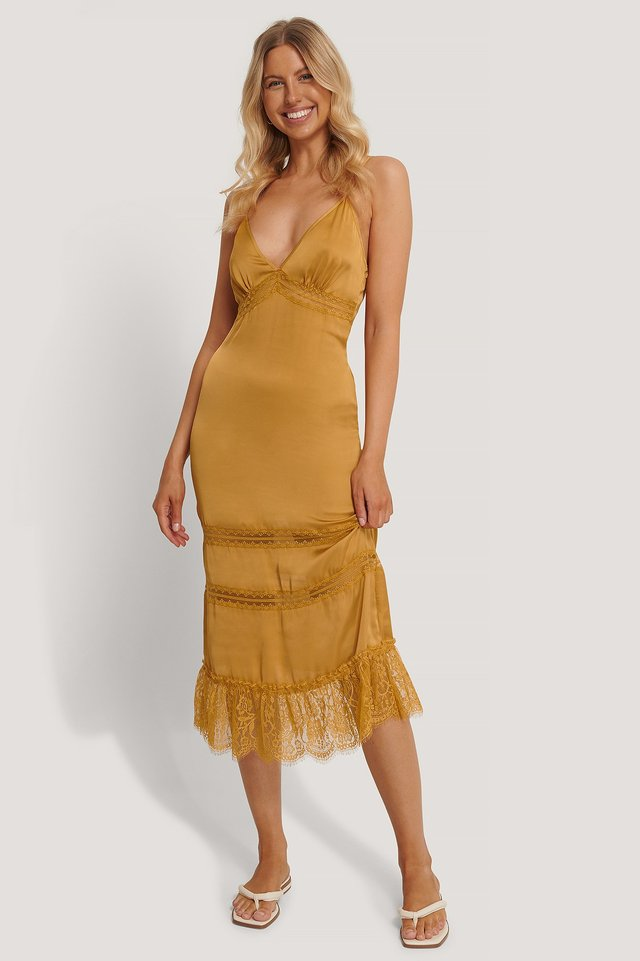Lace Blocking Midi Dress Warm Sand