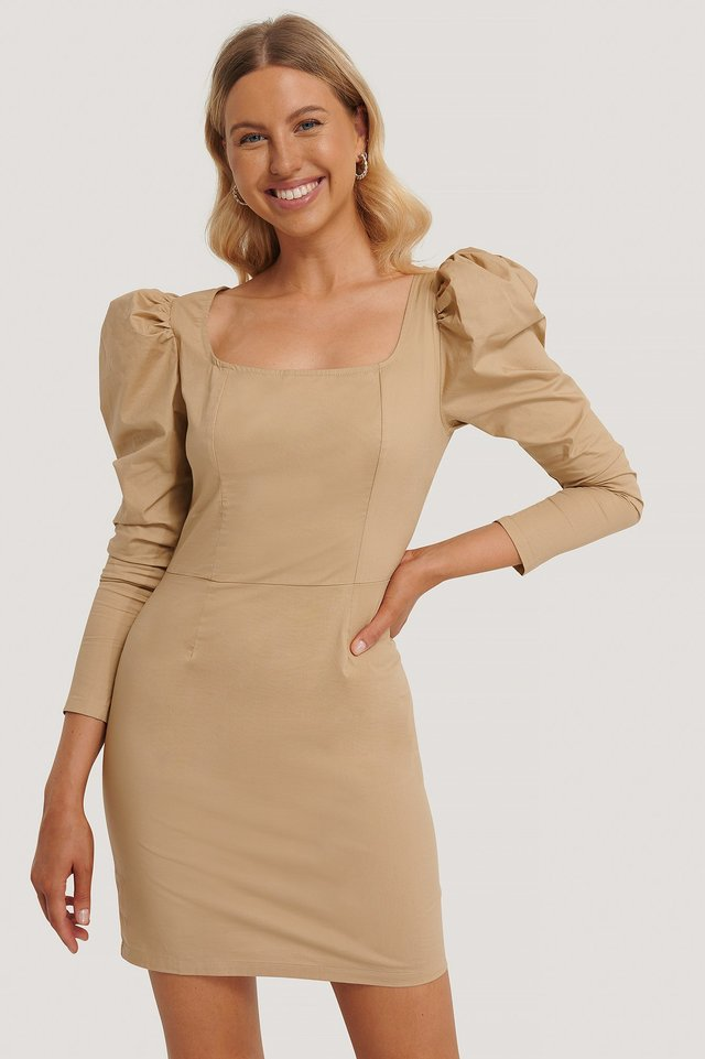 Square Neck Puff Sleeve Dress Sand