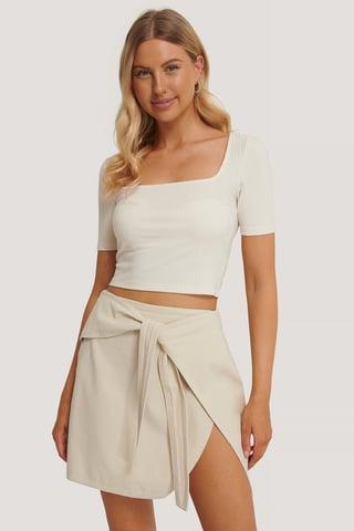 Eggshell Knot Detail Mini Skirt