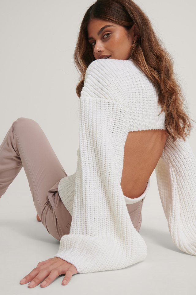 White Cut Out Back Knitted Sweater