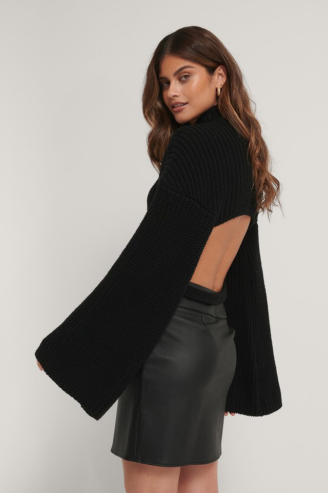 Black Cut Out Back Knitted Sweater