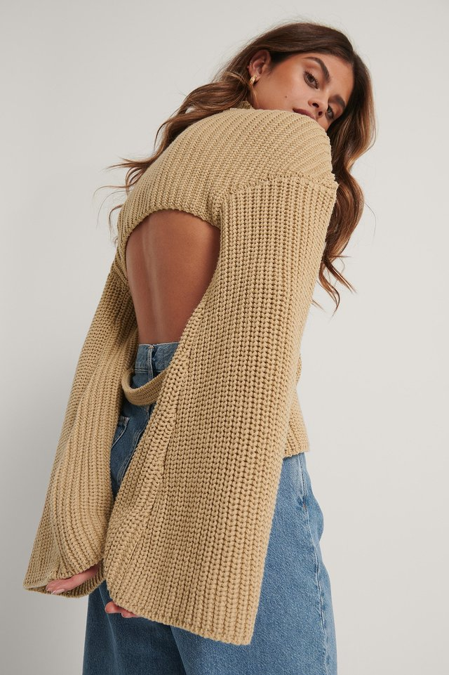 Beige Cut Out Back Knitted Sweater
