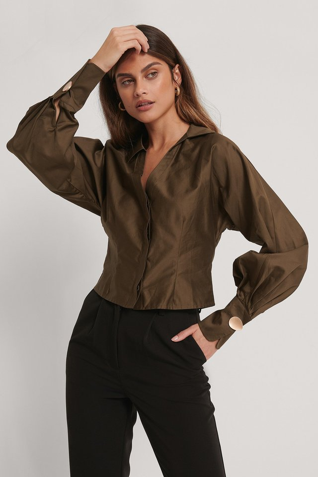 Recycled Blus Med Djup V-ringning Dark Brown