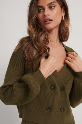 Dark Brown Knitted Balloon Arms Cardigan