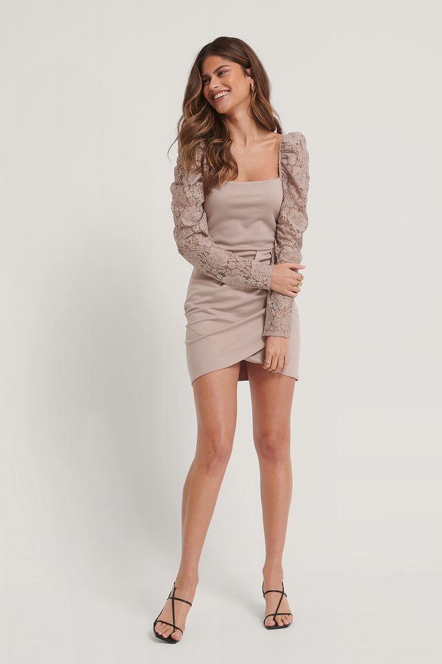 Lace Arms Overlap Dress Taupe