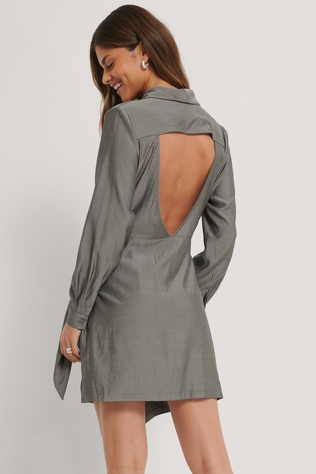 Open Back Front Knot Mini Dress Dark Grey
