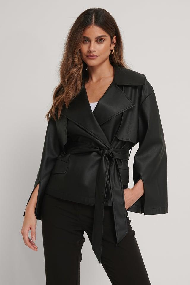 Genanvendt PU-jakke Med Bælte Og Detaljer Black