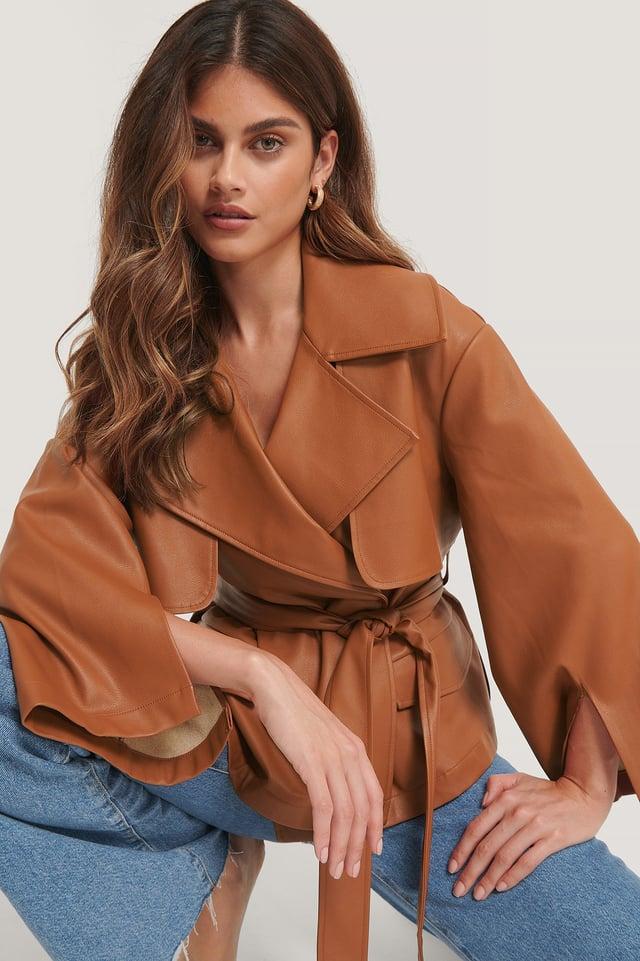 Genanvendt PU-jakke Med Bælte Og Detaljer Rust