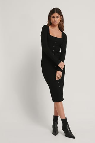 Black Sukienka Midi, Kanciasty Kołnierz, Przednie Guziki