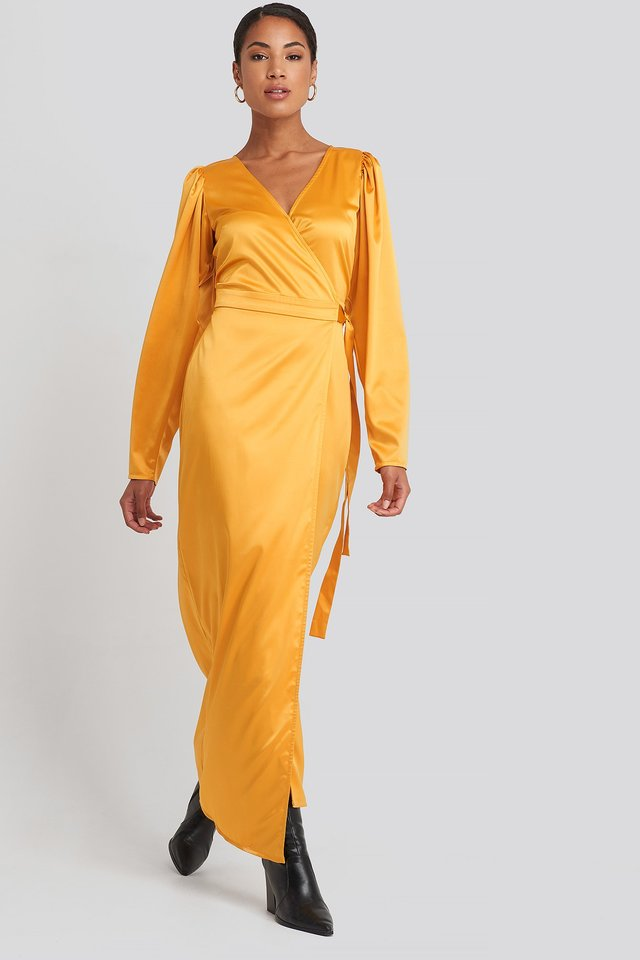 Puff Sleeve Wrap Maxi Dress Yellow Outfit