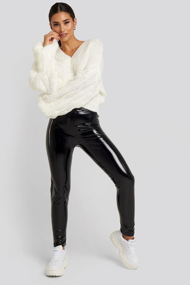 Wet Look Leggings Black Outfit