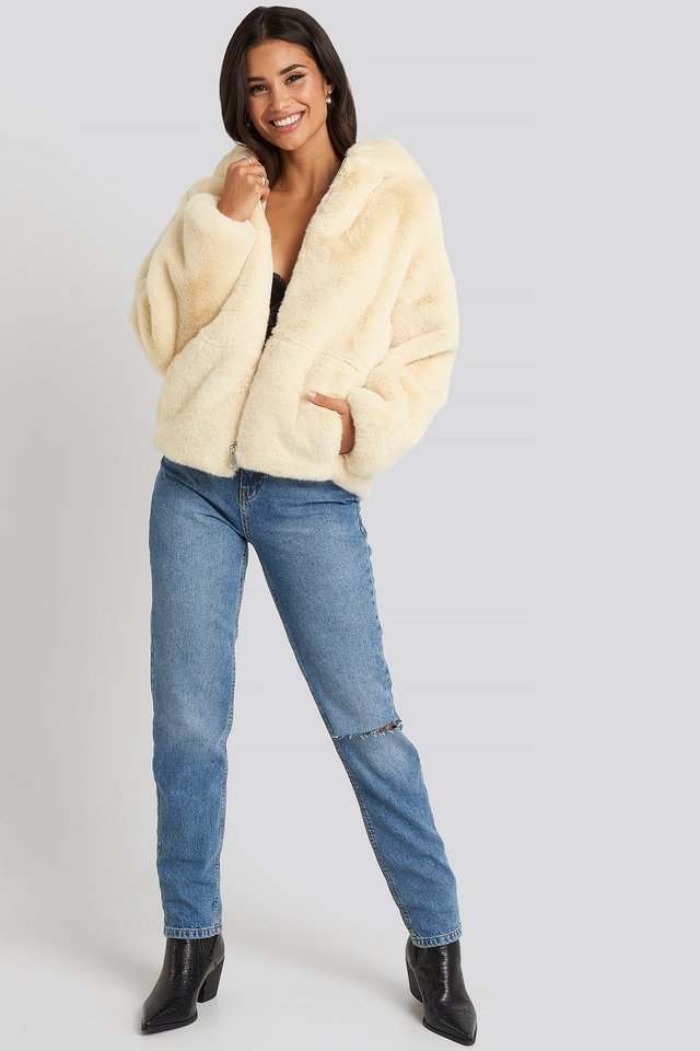 Faux Fur Hoodie Jacket White Outfit