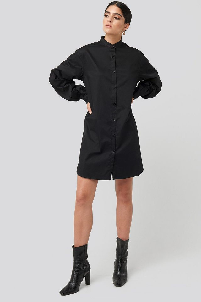 Oversized Cotton Shirt Dress Black Outfit