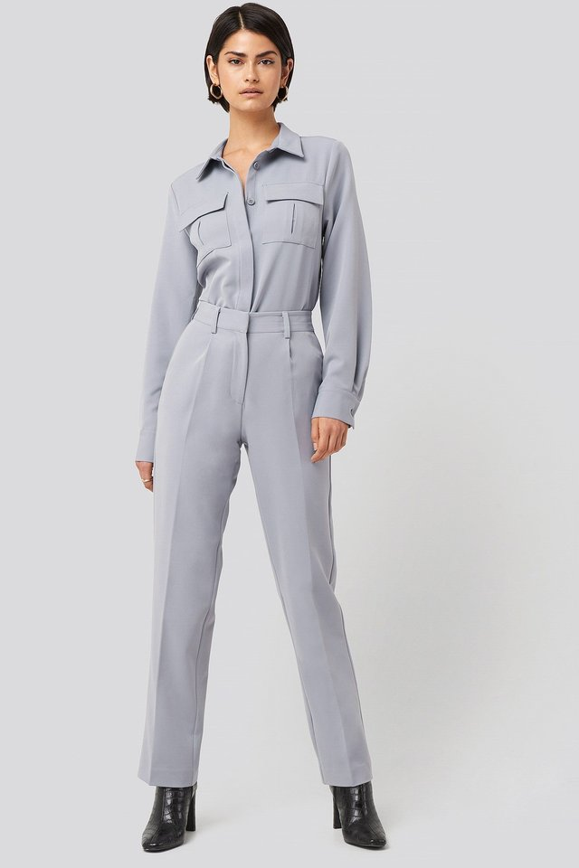 Creased Mid Rise Suit Pants Blue Outfit