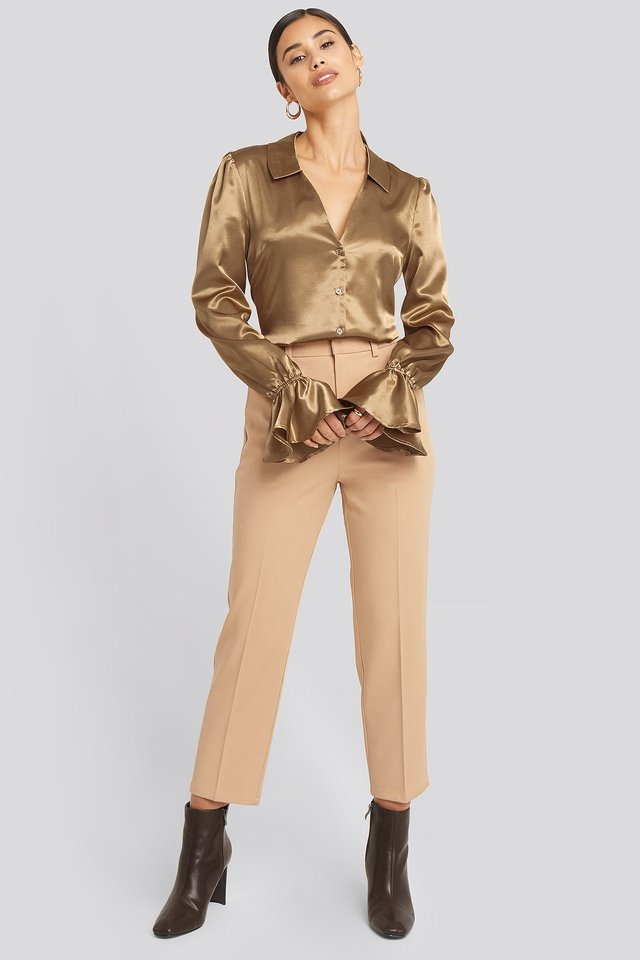 Frill Sleeve Satin Shirt Beige Outfit