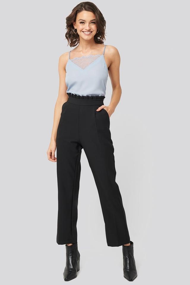Lace Detail Singlet Blue Outfit