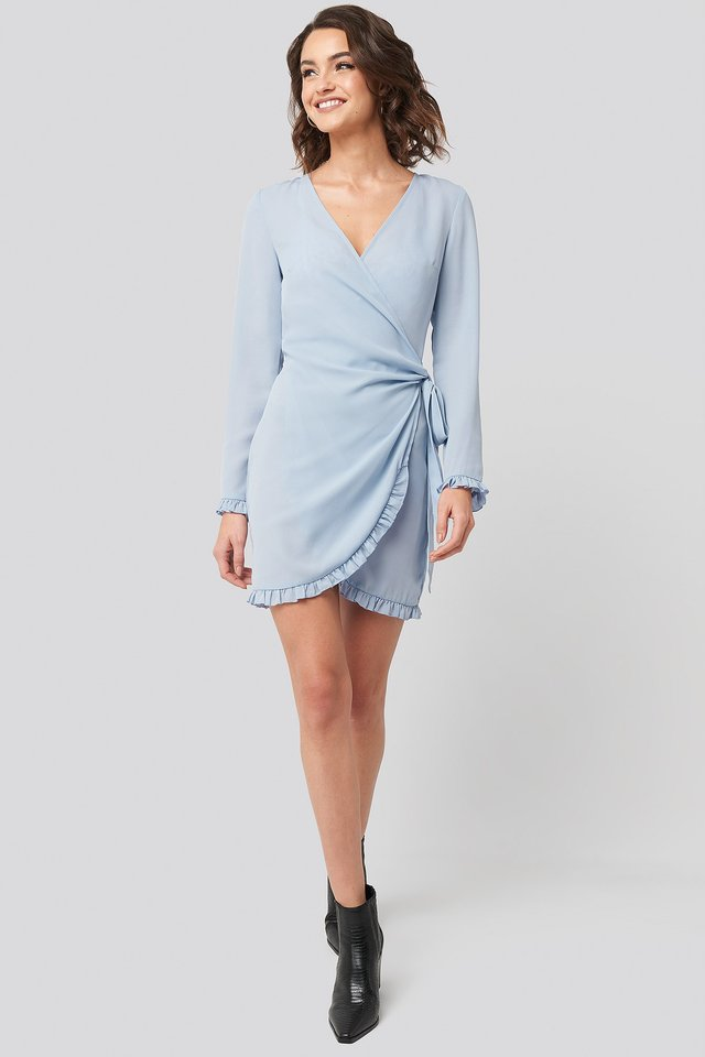 Frill Detail Tie Waist Mini Dress Blue Outfit