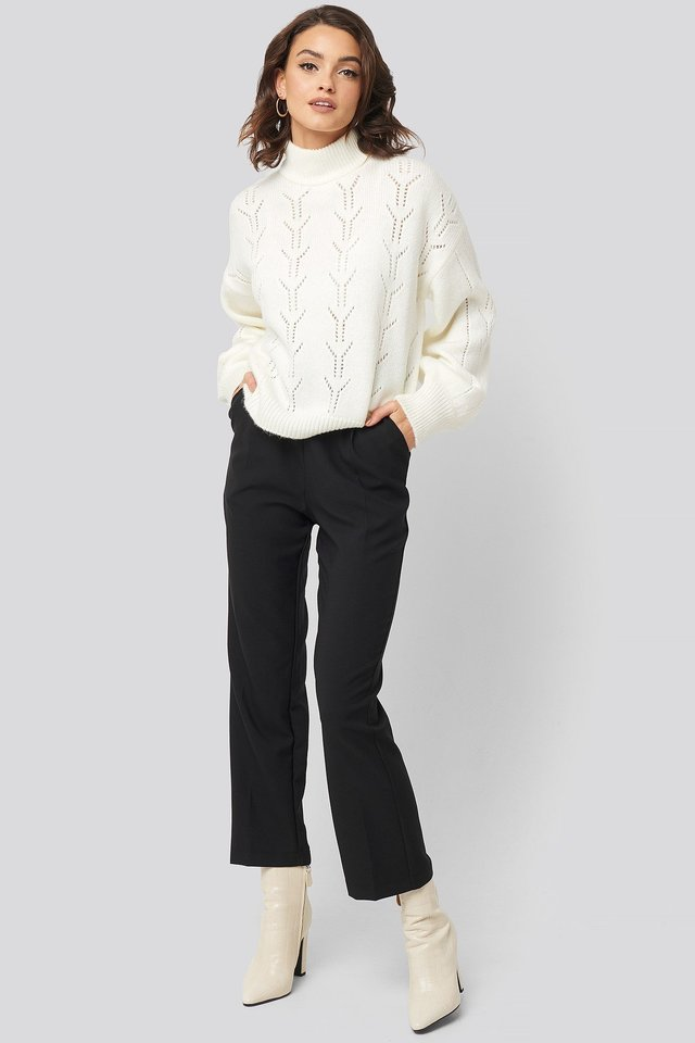 High Neck Balloon Sleeve Knitted Sweater White Outfit