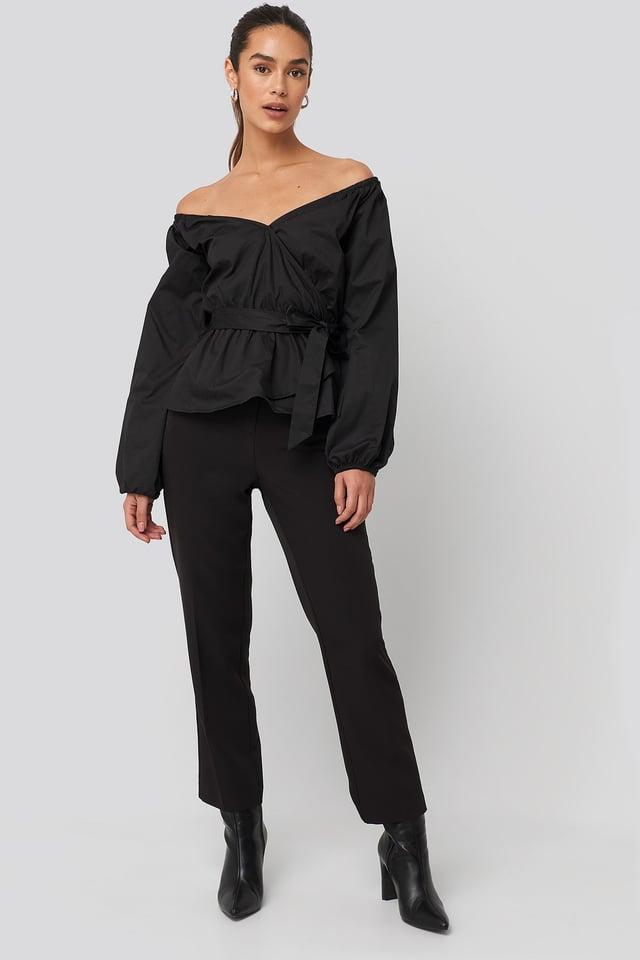 Off Shoulder Tie Waist Blouse Black Outfit