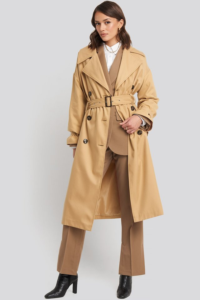 Maxi Oversized Belted Coat Beige Outfit