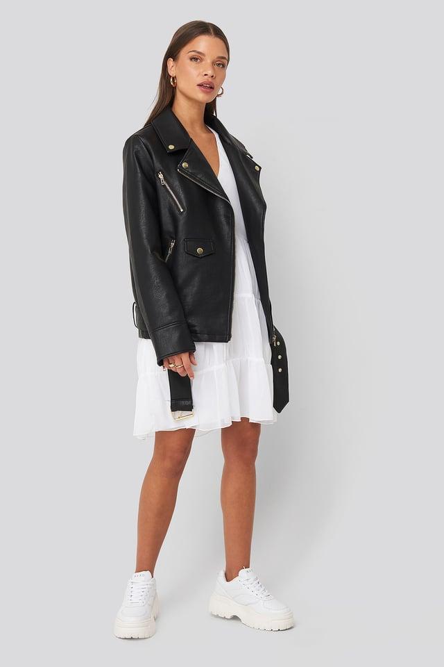 Asymmetric Frill Chiffon Dress White Outfit