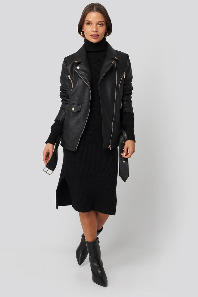 Oversized Detail Faux Leather Jacket Black Outfit