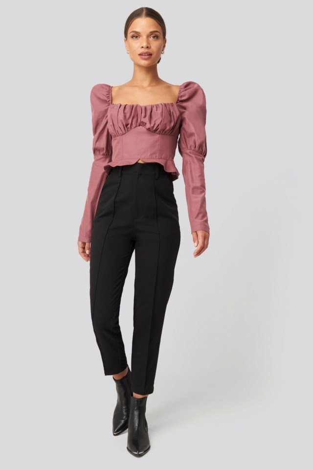 Puffy Sleeve Ruffle Cup Blouse Pink Outfit