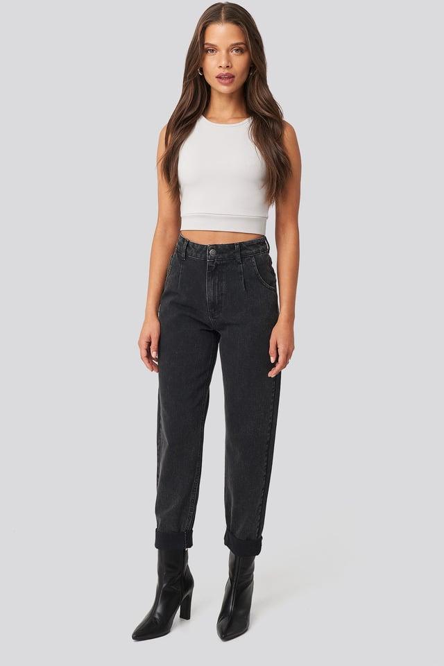Washed Black High Waist Raw Hem Straight Jeans