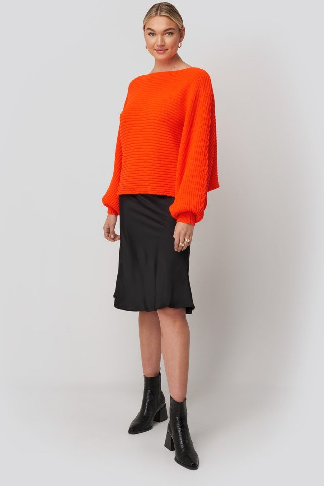 Ribbed Batwing Sweater Orange Outfit